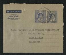 Sir Lanka Ceylon 1960 Double Picture Value Air Mail Postal Used Aerogramme Cover Ceylon To Pakistan - Ceylon (...-1947)