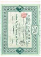 Action Ancienne - Société Franco-Russe De Produits Chimiques Et D' Explosifs - Titre De 1895 N° 06.875 - Russland