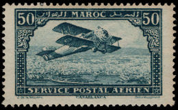 French Morocco 1922-27 50c Blue Air Thick Frame Unmounted Mint. - Marokko (1891-1956)