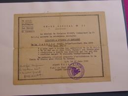 Ordre De Citation à L'Ordre Du Régiment Par Le Général De La 7° Division Infanterie Coloniale/*Croix De Guerre* - Documenti