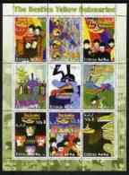 55722 Eritrea 2003 The Beatles Yellow Submarine #1 Perf Sheetlet Containing Set Of 9 (vertical) Values Unmounted Mint - Muziek