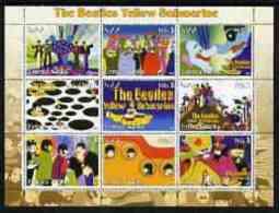 55723 Eritrea 2003 The Beatles Yellow Submarine #2 Perf Sheetlet Containing Set Of 9 (horizontal) Values Unmounted Mint - Muziek