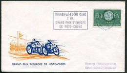 MOTORCYCLE France 1961 Cover EVREUX Slogan Moto-cross Motorbike Motorrad Motocycle Flamme Werbestempel Cycling Europa - Motorräder