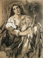 P. LEGRAND - Patriarche Et Sa Fille - Pierre Noire Rehaussée De Blanc 1869 - Drawings