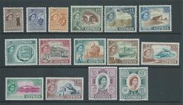 Cyprus 1955 QEII Definitives Set Of 15 Fresh MLH - Chypre (République)