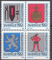 SVERIGE - SVEZIA - SWEDEN - 1986 - Serie Completa Nuova MNH: Yvert 1368/1371 In Quartina 1368a; 4 Valori Uniti Fra Loro. - Schweden