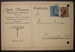 1923 Derendingen-Tübingen Josef Maurer Postkarte (deutsches Reich Allemagne) - Briefe U. Dokumente