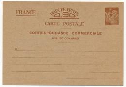 FRANCE - CP Type Iris - 0,90F - Correspondance Commerciale, Avis De Commande, Neuve Et SUP - Cartes Postales Types Et TSC (avant 1995)