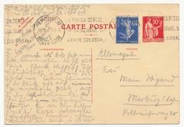 FRANCE - CP Type Paix - 90c + Affranchissement Complémentaire 10c - Carte Postale Oblitérée - Cartes Postales Types Et TSC (avant 1995)