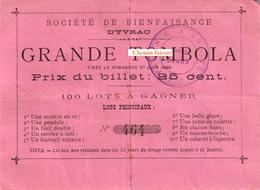 Billet TOMBOLA  Du 27/06/1886 Sté De Bienfaisance D'Yvrac 33 - Scans Recto-verso - Billets De Loterie