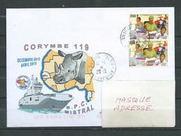 B.P.C. MISTRAL  - Mission CORYMBE 119 - Escale à ABIDJAN 19/01/13 Sur Timbres De COTE D'IVOIRE - Naval Post