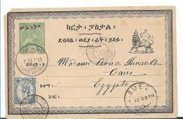 ET001 /Äthiopien, 2-LänderfrankaturvAddis Abeba Via Dschibuti Nach Kairo 1903 Auf Ganzsache. - Äthiopien