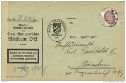 28411. Carta Oficial WEILHEIM (Alemania)  1931. Service - Oficial