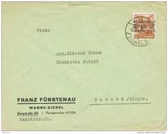 28412. Carta WANNE EICKEL (Alemania) 1948. Zona Anglo Americana - Bizone