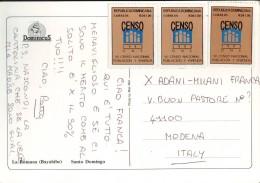 VII Censo National 1993, 3 Francobolli Val 1,00 Rep. Dominicana Su Cartolina - Repubblica Domenicana