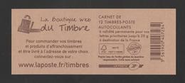 """FRANCE / 2011-2012 / Y&T N° AA 590-C11 ** Ou AA 590 ** Carnet 12 TVP LP Couv """"Boutique Web Du Timbre"""" - état D'origine - Carnets"""