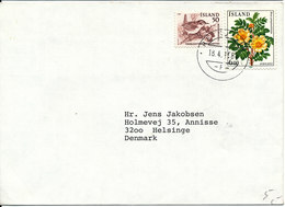 Iceland Cover Sent To Denmark Reykjavik 18-4-1984 BIRD And FLOWERS On The Stamps - 1944-... Repubblica