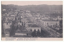 Greece Thessaloniki Salonica Town View Constantinou Street 1916 Vintage Postcard - Greece