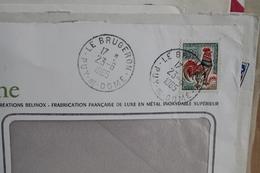 LE  BRUGERON   (   PUY  DE  DOME   )        CACHET  MANUEL  ROND  SUR    ENVELOPPE   ENTIERE - Marcophilie (Lettres)