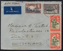 CEYLON - CEYLAN - BAMBALAPITIYA / 1948 LETTRE AVION POUR LA SUISSE- AIRMAIL COVER (LE2287) - Ceylan (...-1947)