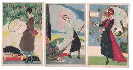 CARTOLINA POSTALE LE CORAGGIOSE  EDIZIONE SPECIALE DE LA TRADOTTA   Illustratore BRUNELLESCHI  SERIE DI 6 CARTOLINE - Pubblicitari