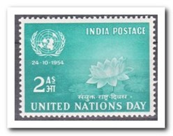 India 1954, Postfris MNH, Day Of The United Nations, Flowers - 1950-59 Republiek