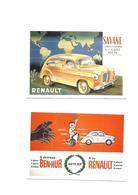 Carte Postale Publicité Reproduction Auto Renault 2 Cartes - Publicité