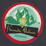 étiquette Valise  -   Hôtel  Nevada Palace  à  Grenada  (Grenade)  Espagne - Hotel Labels
