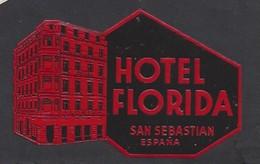 étiquette Valise  -  Hôtel Florida    à  Saint Sébastian  (Saint Sébastien)    Espagne - Hotel Labels