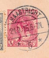 Censure 1916 Maastricht Pays Bas Nederland Liège Belgique Recommandé Première Guerre Mondiale Ausladestelle Aanchen - Entiers Postaux