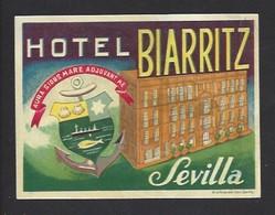 étiquette Valise  -  Hôtel Biarritz  à Sévilla  (Séville)   Espagne - Hotel Labels