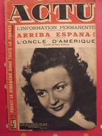 Actu N° 93 De 1944. Guerre Zone Libre. Marseille. Franco Espana Alain Cuny Reda Caire Edith Piaf Marcel Thil Boxe. Rare - 1900 - 1949