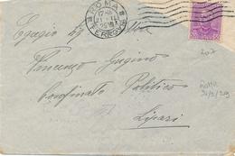 Lettre Pour Un PRISONNIER POLITIQUE - INTERNÉ CIVIL - INTERNEE à LIPARI Onl N°207 ROMA FERROVIA - Eoliennes - 1900-44 Victor Emmanuel III