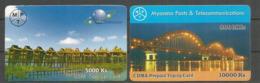 2 Phone Cards , Used, MPT Myanmar - Myanmar