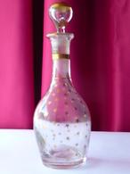 Napoléon III - Flacon à Parfum Verre Soufflé Aux étoiles D'or TBE - Glass & Crystal