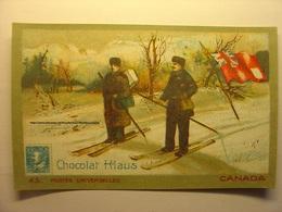 IMAGE CHROMO CHOCOLAT KLAUS - CANADA - 10.5cm X 6.5cm - Petite Correspondance - CIRCA 1910 - Drapeau Facteur Ski Skieurs - Chocolat