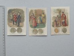 CHROMO POULAIN Histoire Générale Des Monnaies Lot 3 Différents Même Série - Bourbons Capétien Louis XV Macédoine Romaine - Poulain