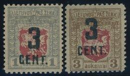 LITAUEN 151/2 *, 1922, 3 C. Auf 1 A. Grau/karmin Und Auf 3 A. Braun/karmin, Falzreste, 2 Prachtwerte - Litauen