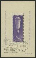 POLEN Bl. 6 O, 1938, Block Stratosphärenflug, Sonderstempel, Feinst, Mi. 90.- - Polen