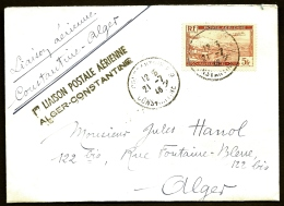 LETTRE ALGÉRIE- POSTE AÉRIENNE- 1er LIAISON POSTALE AÉRIENNE ALGER-CONSTANTINE- 21-7-1946- - Algérie (1924-1962)