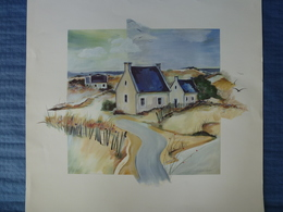 Lithographie Signée H.Kirchner - Maisons Dans Les Dunes - 70 X 70 Cm - Lithographies