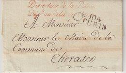 """FRANCE : MARQUE POSTALE . """" 104 TURIN """" . FRANCHISE DU DIRECTEUR DE LA POLICE DEPt . AU DELA DES ALPES . 1811 . - 1801-1848: Precursors XIX"""