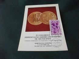 MONETE CARTOLINA POSTALE IV CONGRESSO HISPANO LUSO AMERICANO FILIPINO DE MUNICIPIOS BARCELONA SPAGNA - Monete (rappresentazioni)