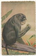 Art Card Monkey Singe Exposition Coloniale De Paris 1931 Singe à La Banane Signée L. Liezard Madagascar - Singes