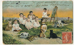 Multi Bébé Repopulation Chien Teckel Fumant La Pipe Chat Noir Black Cat - Dogs