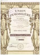 Ancienne Action - Union Immobilière -  Titre De 1925 - Déco - Banque & Assurance