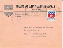 VENDEE 85  - ST JEAN DE MONTS - FLAMME N° 1214a  - DESCRIPTION  - 1968 -  SUR ENVELOPPE MAIRIE - Postmark Collection (Covers)