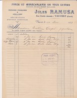 VAUVERT GARD JULES RAMUSA FORGE ET MARECHALERIE FERRURES FRANCAISES ANGLAISES ANNEE 1929 AVEC CACHET - Unclassified