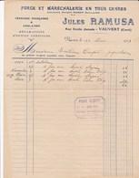 VAUVERT GARD JULES RAMUSA FORGE ET MARECHALERIE FERRURES FRANCAISES ANGLAISES ANNEE 1929 AVEC CACHET - France