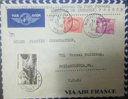 O) 1949 FRANCE,  AIRMAIL  FRANCE,CERES SCOTT A146, MARIANNE A147, MT GERBIER DE JONC VIVARAIS SCOTT A190, FROM MONTPELLI - France